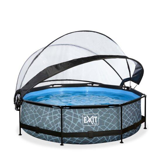 exit-stone-zwembad-o300x76cm-met-dome-en-filterpomp-de-versie-grijs