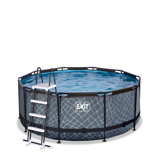 exit-stone-zwembad-o360x122cm-met-filterpomp-grijs
