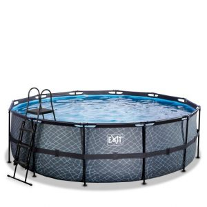 exit-stone-zwembad-o450x122cm-met-filterpomp-grijs