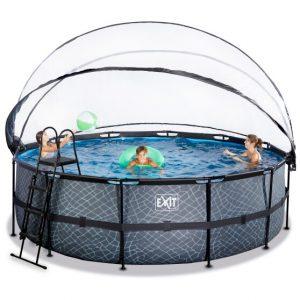 exit-stone-zwembad-o450x122cm-met-overkapping-en-zandfilter-en-warmtepomp-grijs