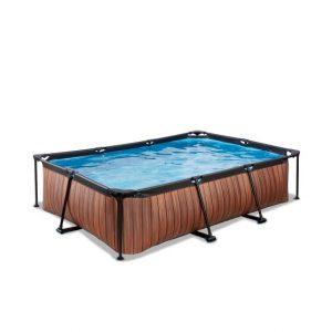 exit-wood-zwembad-300x200x65cm-met-filterpomp-bruin
