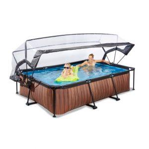 exit-wood-zwembad-300x200x65cm-met-overkapping-en-filterpomp-bruin