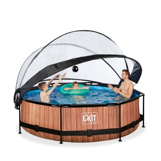 exit-wood-zwembad-o300x76cm-met-dome-en-filterpomp-de-versie-bruin