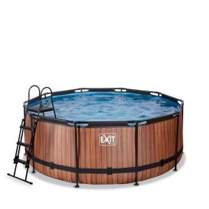 exit-wood-zwembad-o360x122cm-met-filterpomp-bruin