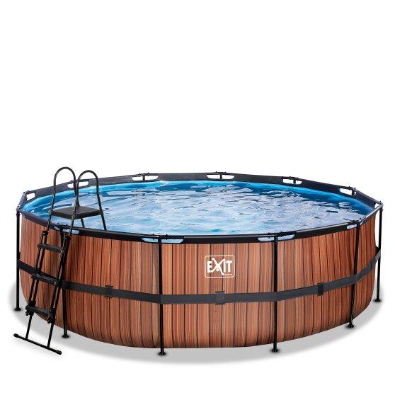exit-wood-zwembad-o450x122cm-met-filterpomp-bruin