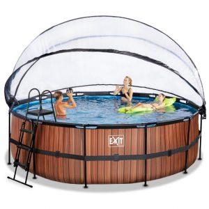 exit-wood-zwembad-o450x122cm-met-overkapping-en-zandfilter-en-warmtepomp-bruin